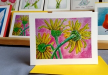 Yellow on Pink Daisies #107