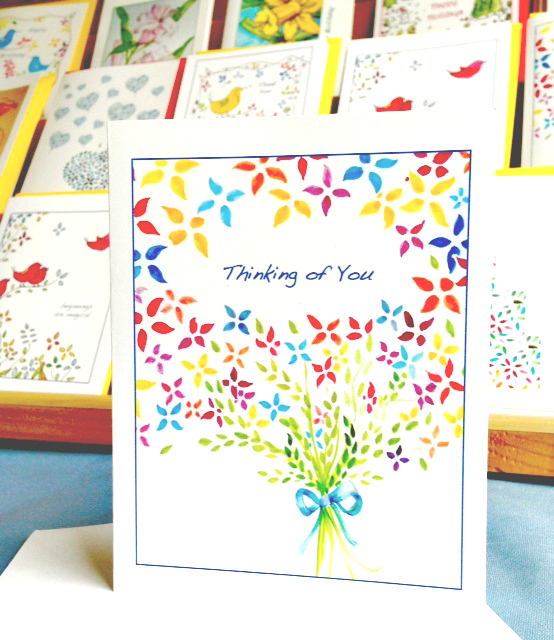 Greeting card - Bouquet - Thinking of You - Sunnyside Art Studio Made in Oregon on eco-friendly paper
